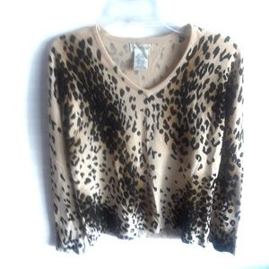 Sweaters - White Stag Leopard V Neck Cardigan